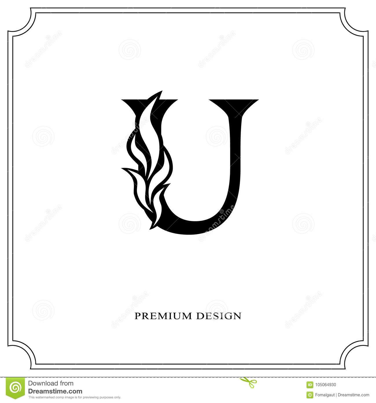 Elegant Letter U Graceful Royal Style Calligraphic Beautiful Logo