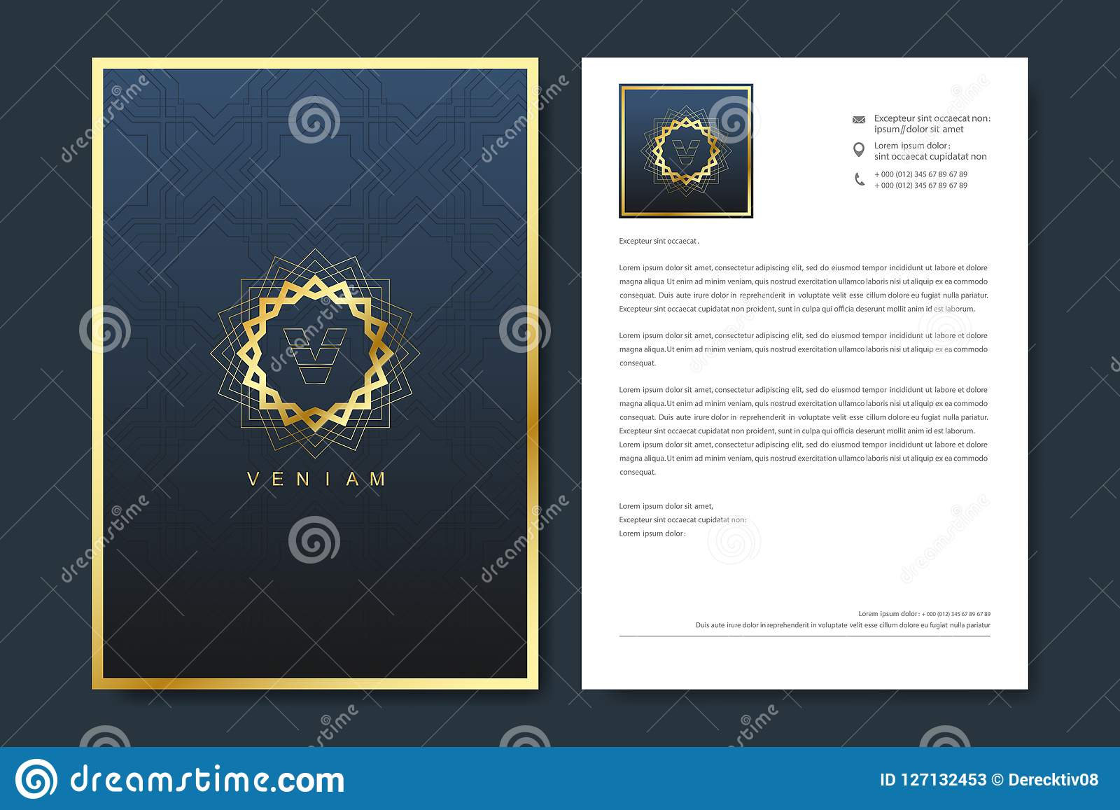 Elegant letterhead template design in minimalist style with Logo. Golden luxury business design for cover, banner