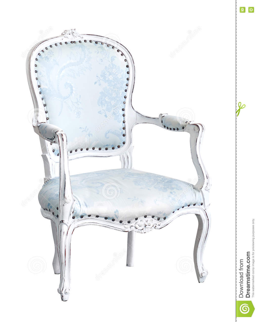 Elegant Light-blue Arm-chair Isolated On White. Armchair ...