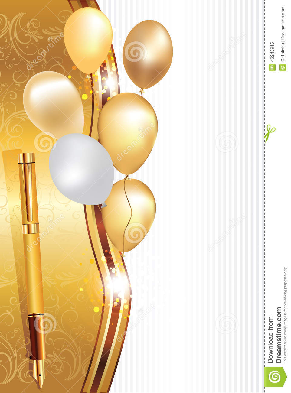 Elegant holiday background with ball0ons and an elegant pen (fountain ...
