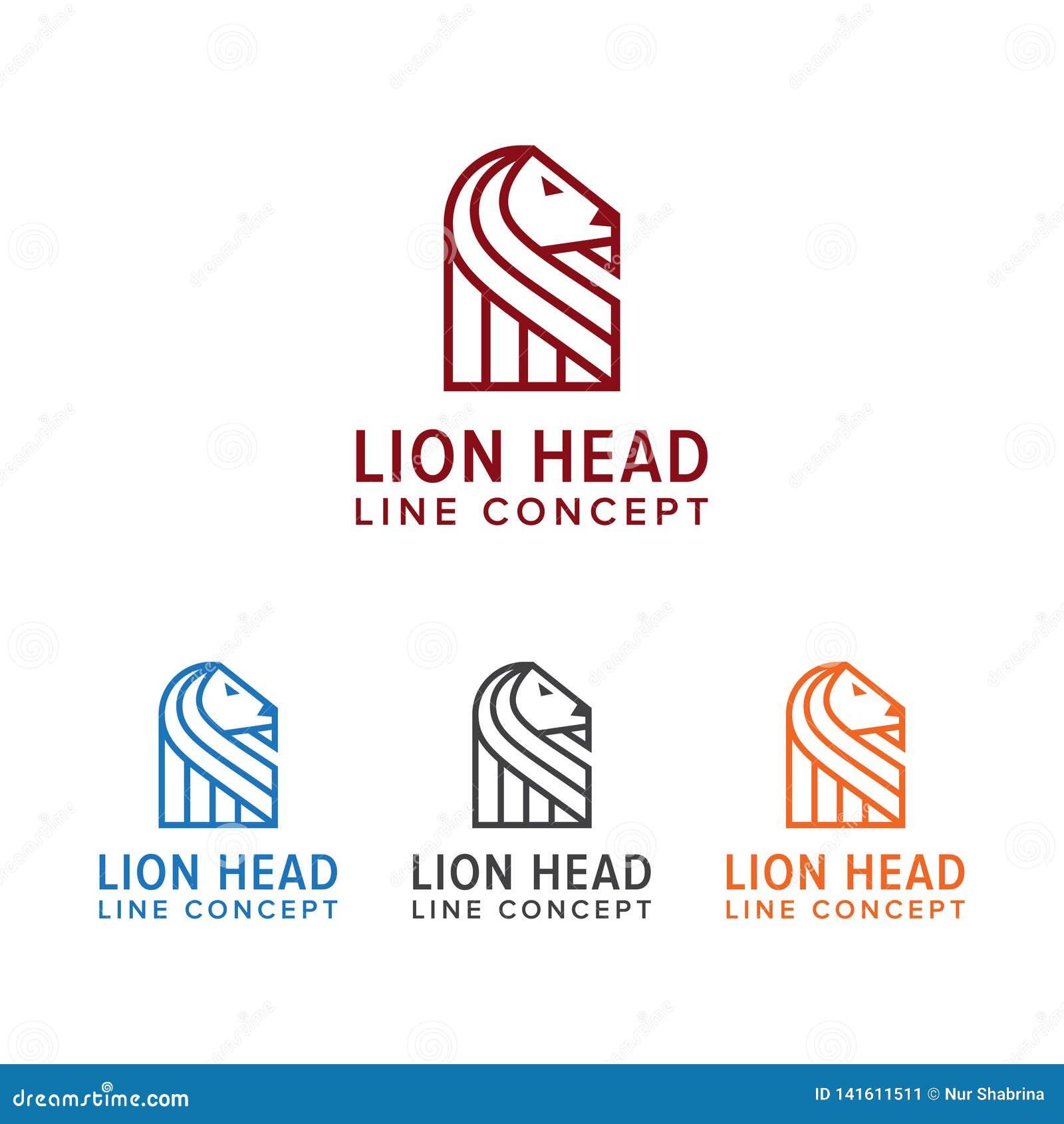 Elegant Lion Logo met Lijn Hoofdconcept