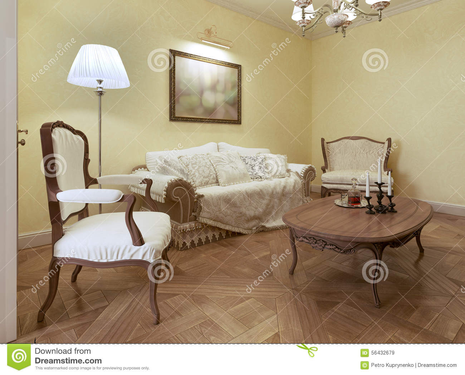 Elegant Living Room Classic Style Stock Illustration