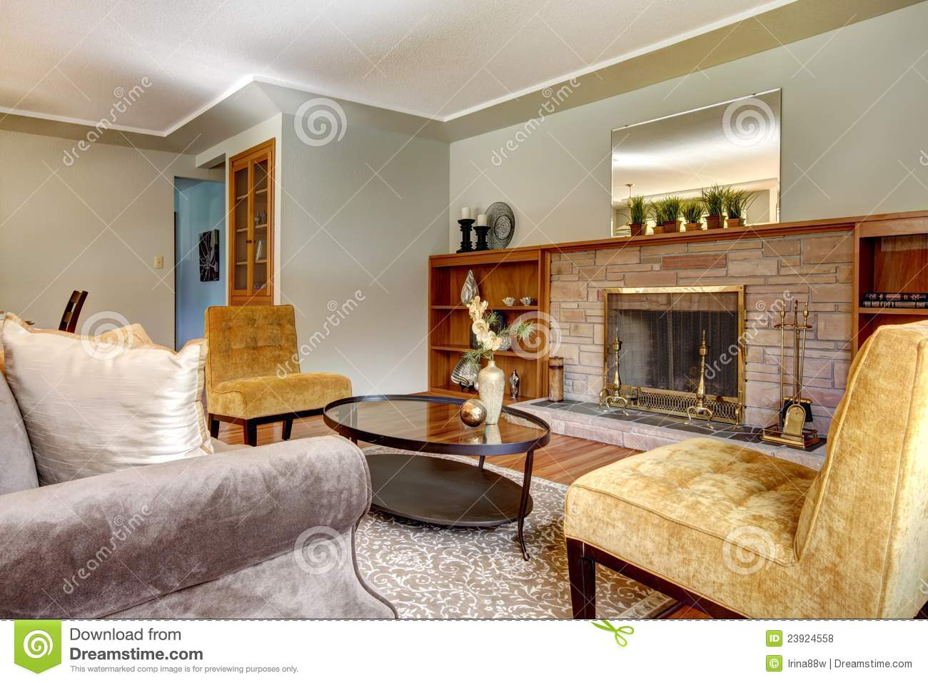 Elegant Living Room With Fireplace Royalty Free Stock Photos Image 23924558