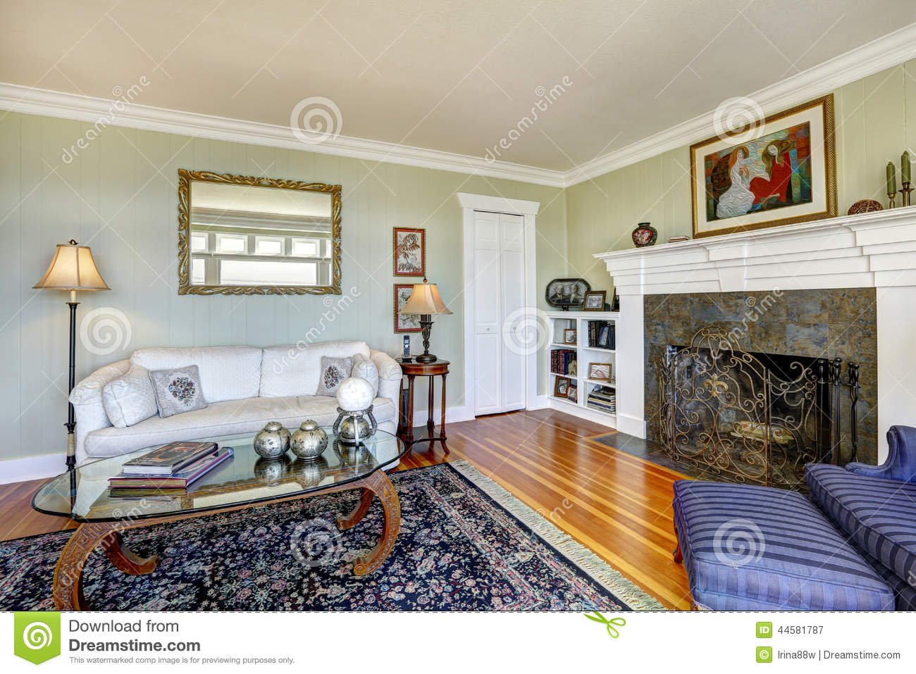 Elegant Living Room With Fireplace And Antique Couch Real Estat Stock Photo Image 44581787