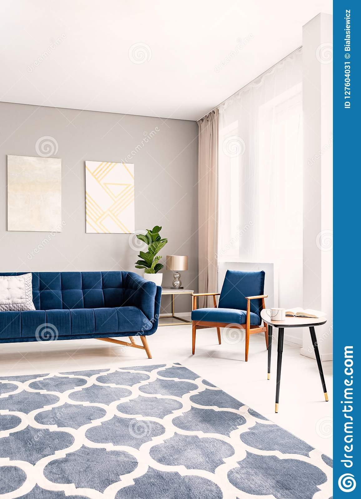 Elegant Living Room Interior With A Dark Blue Couch And A