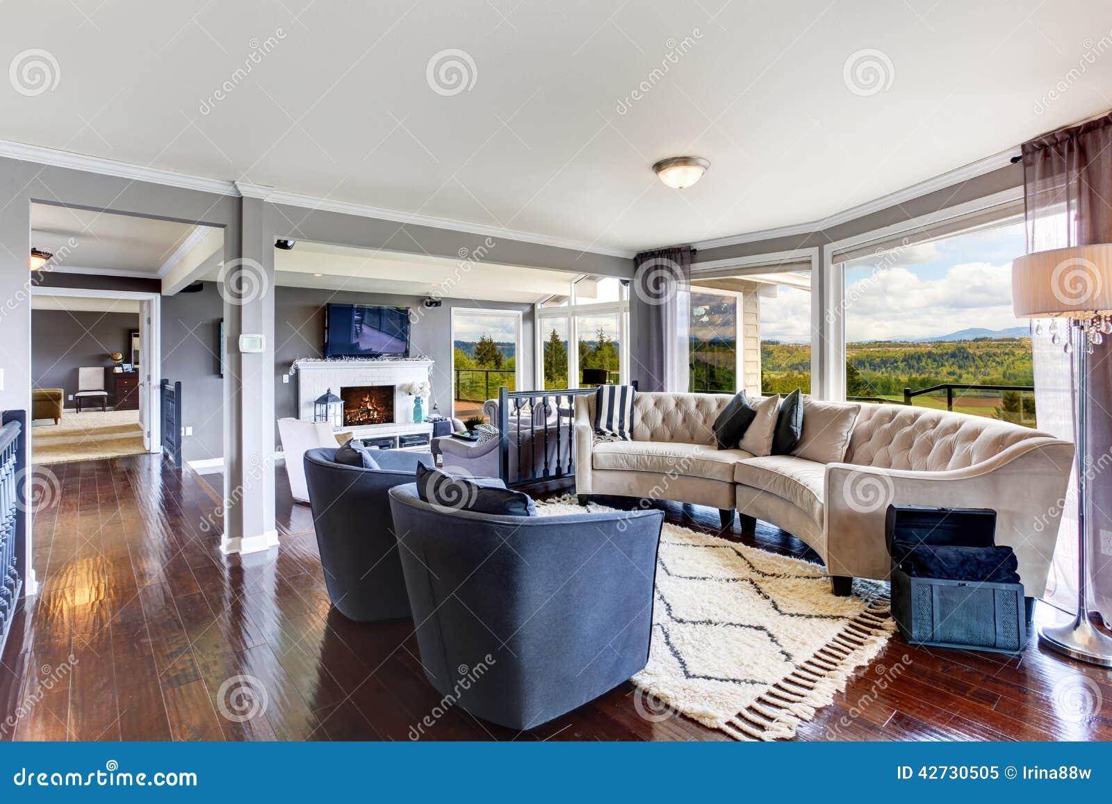Elegant living room interior in luxury house - Kaplan furniture for elegant home interior ...