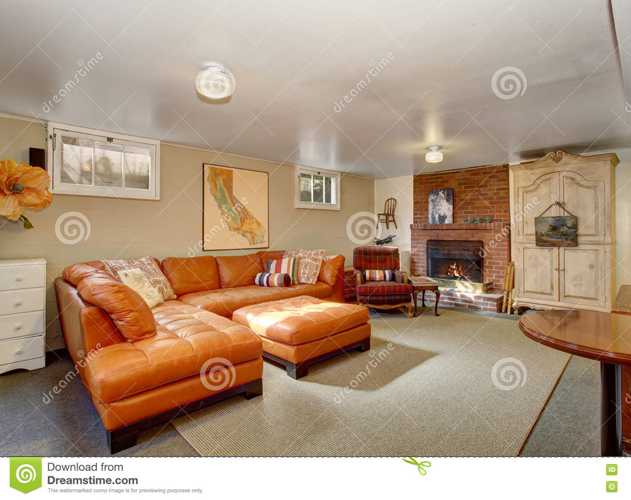 Elegant Living Room With Leather Sofa Set Brick Fireplace And