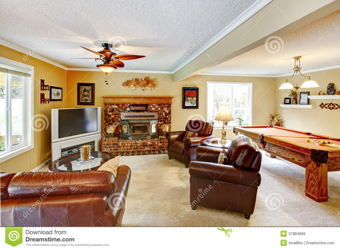 Elegant Living Room With Pool Table Stock Photo Image Of Beams Estate 37884666