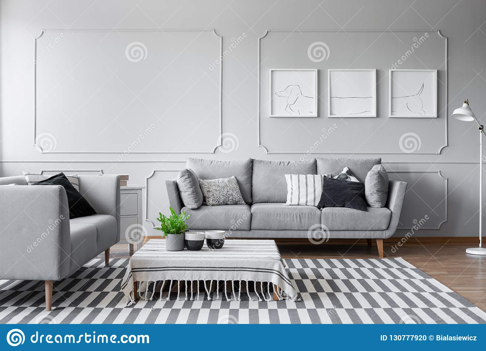 Elegant Living Room With Two Comfortable Grey Sofas With ...