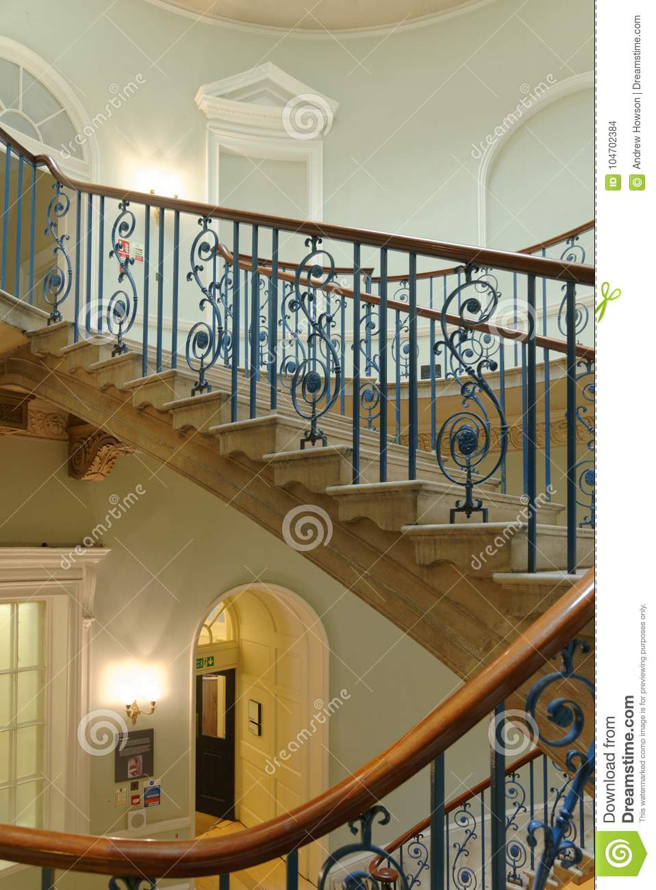 Image Taken Of A Naturally Lit And Elegant Victorian Period Stair With  Stone Steps In London, England.