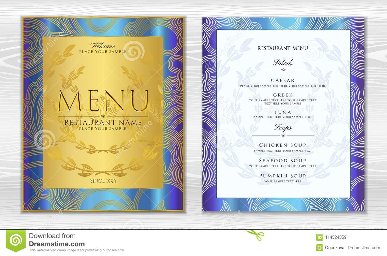 Design Restaurant Menu Template In Black Color With Gold Frame