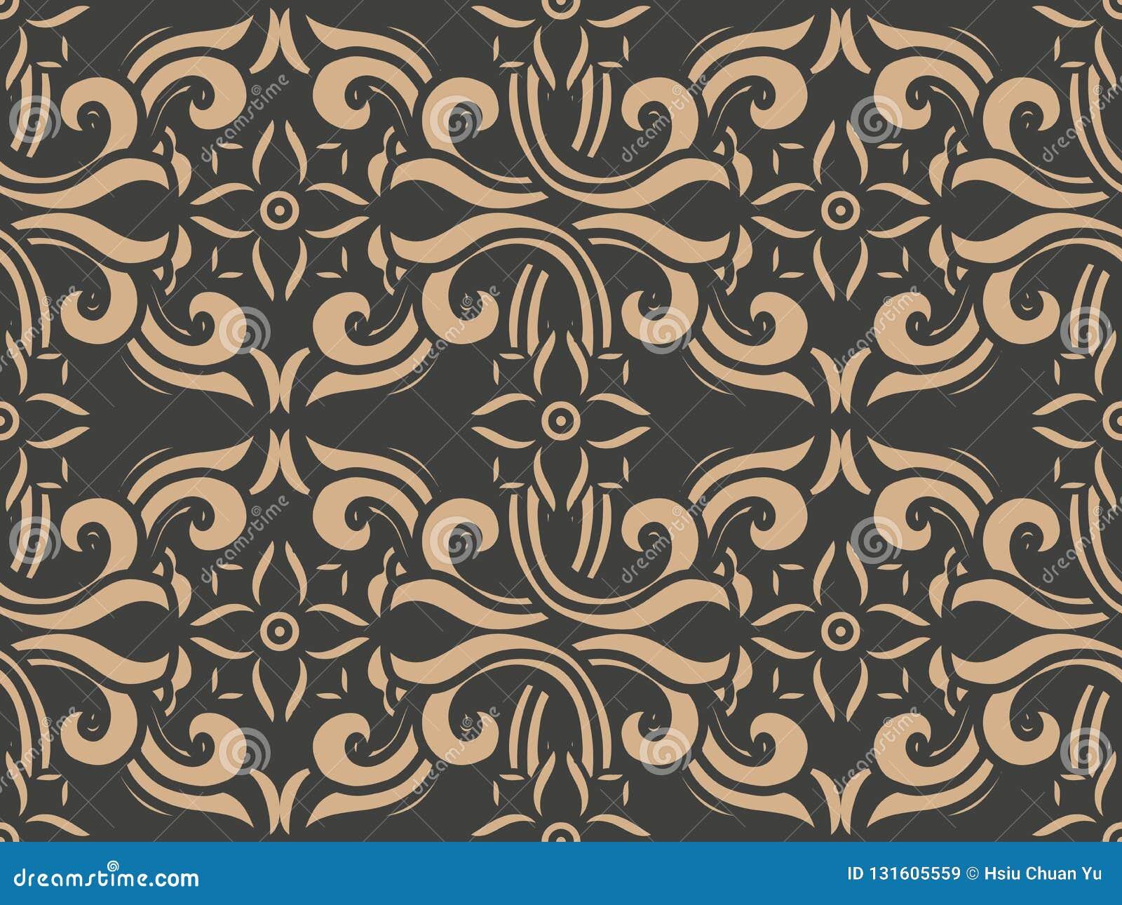 Vector damask seamless retro pattern background spiral curve cross frame flower vine