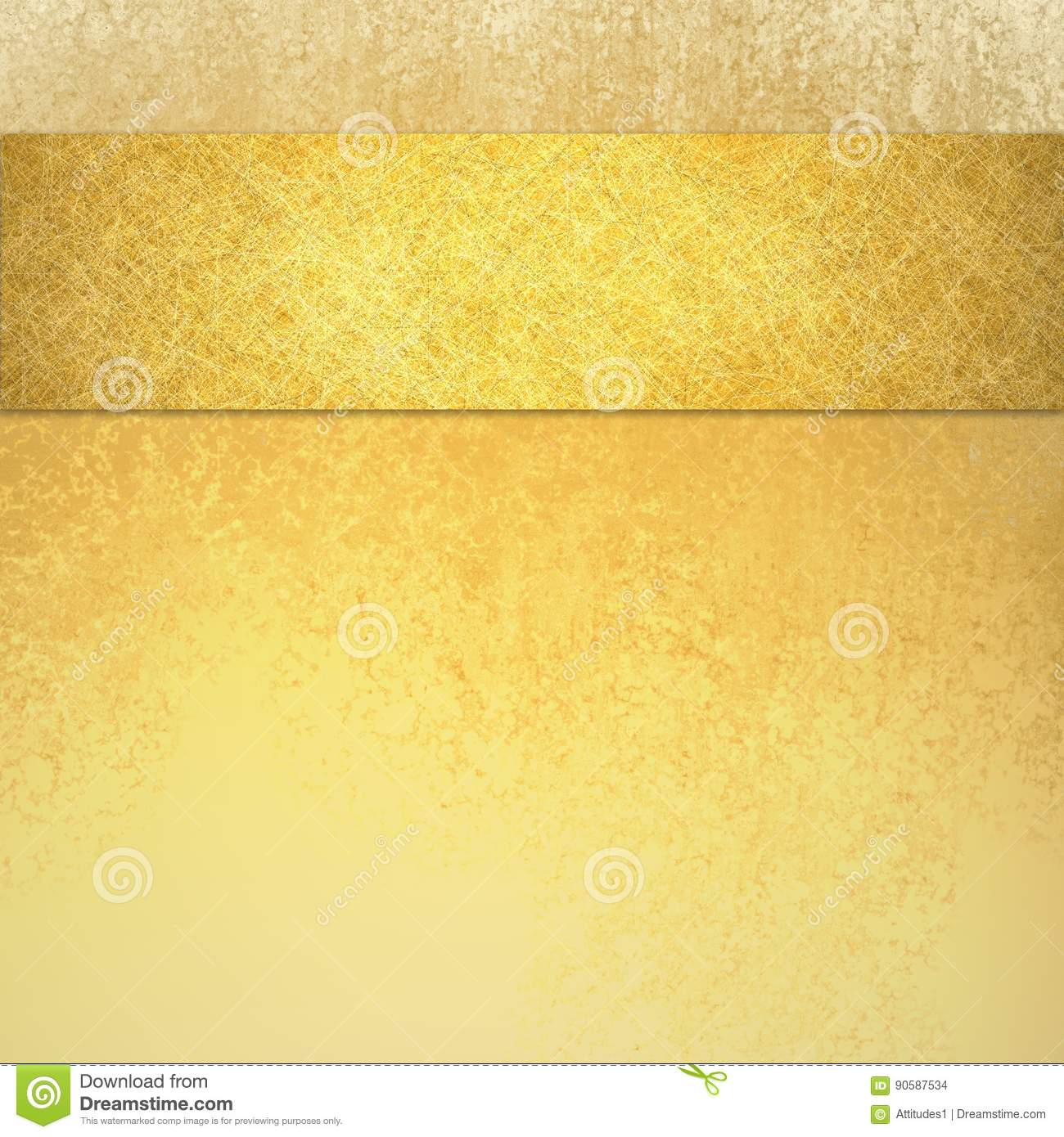 Elegant luxury gold background with ribbon stripe on top border and vintage texture