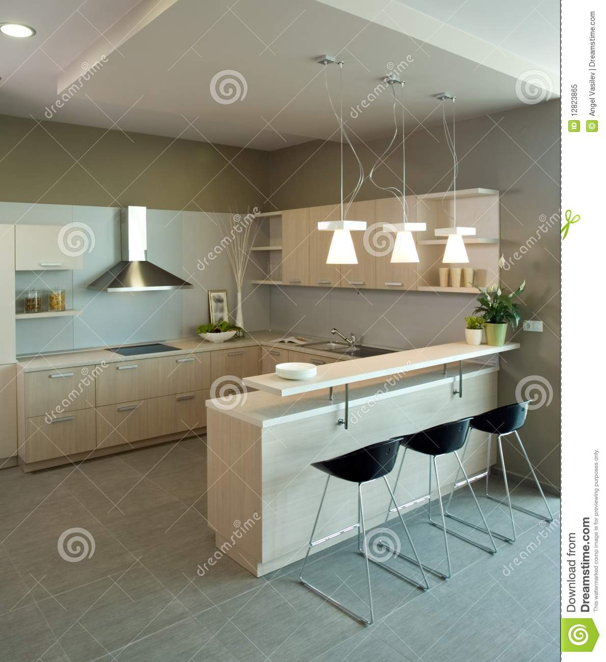 Elegant and luxury kitchen interior design stock image for Elegant interior design