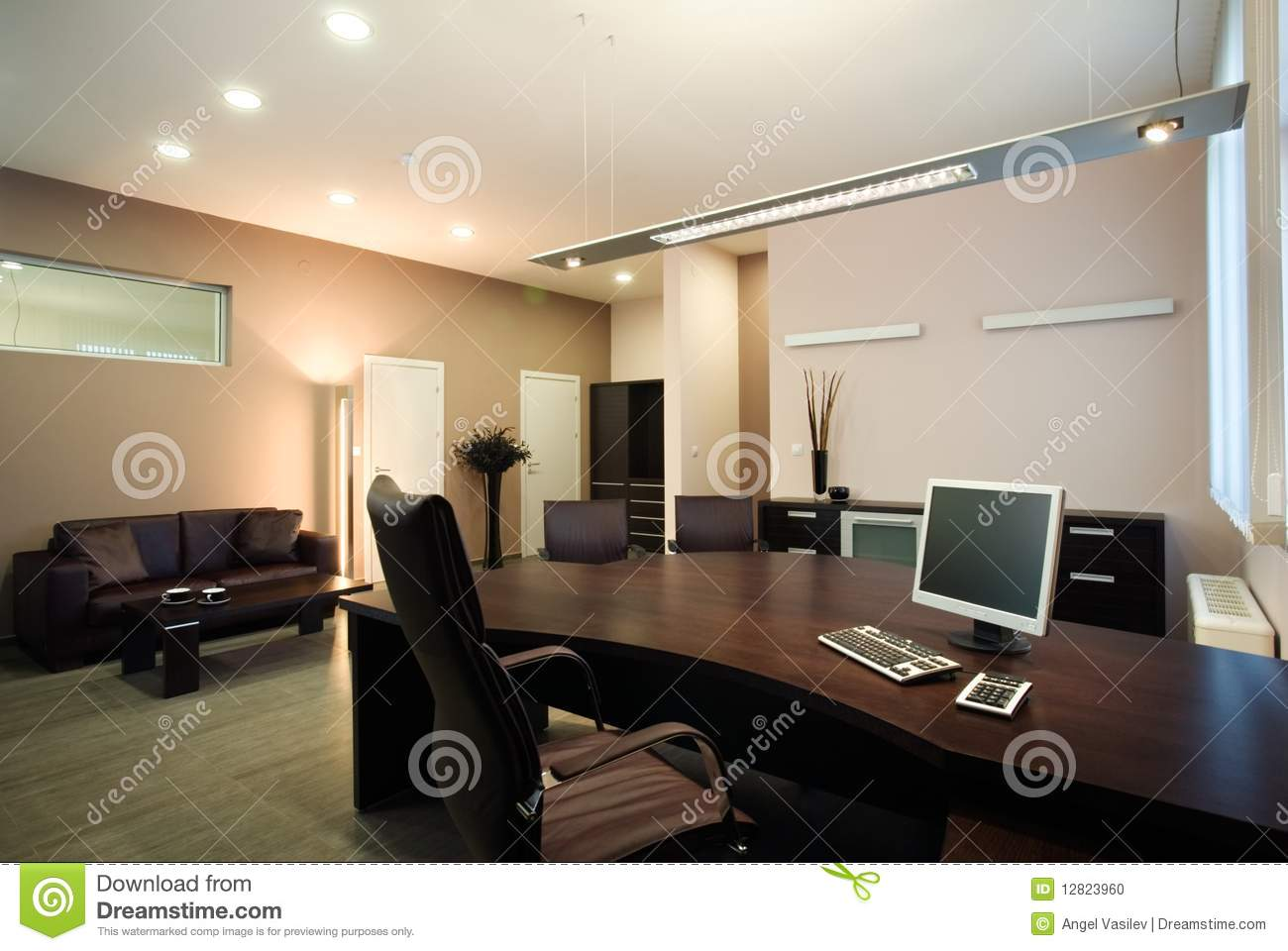 elegant and luxury office interior design stock photo image