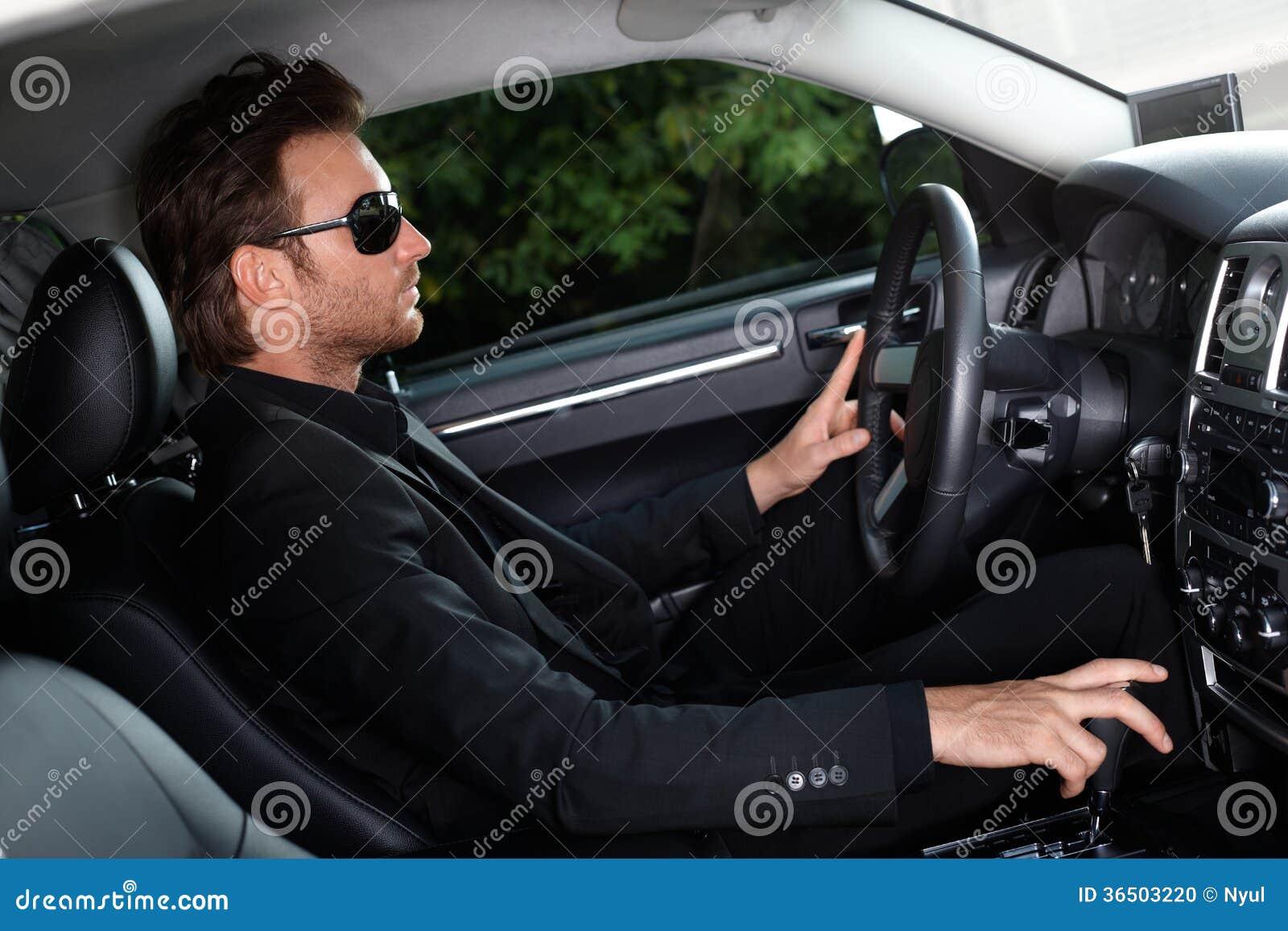 Elegant Man Driving A Car Stock Photo Image 36503220