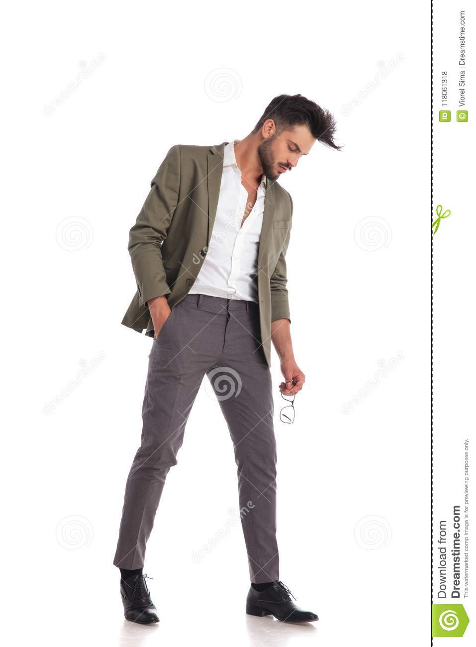 Elegant Man Posing While Looking Down To Side Stock Photo Image Of Glasses Collar 118061318