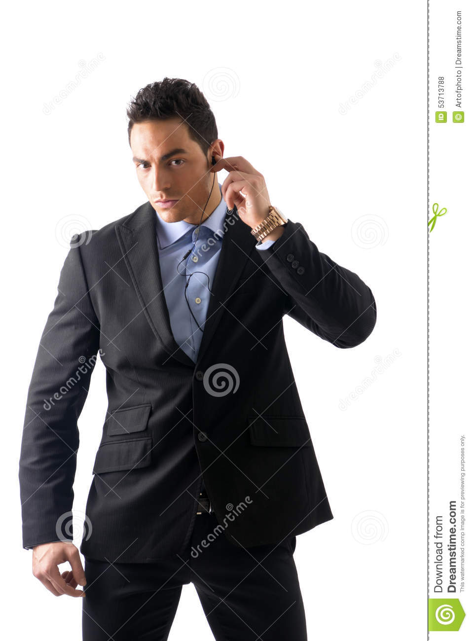 Elegant man ressed as bodyguard or security agent
