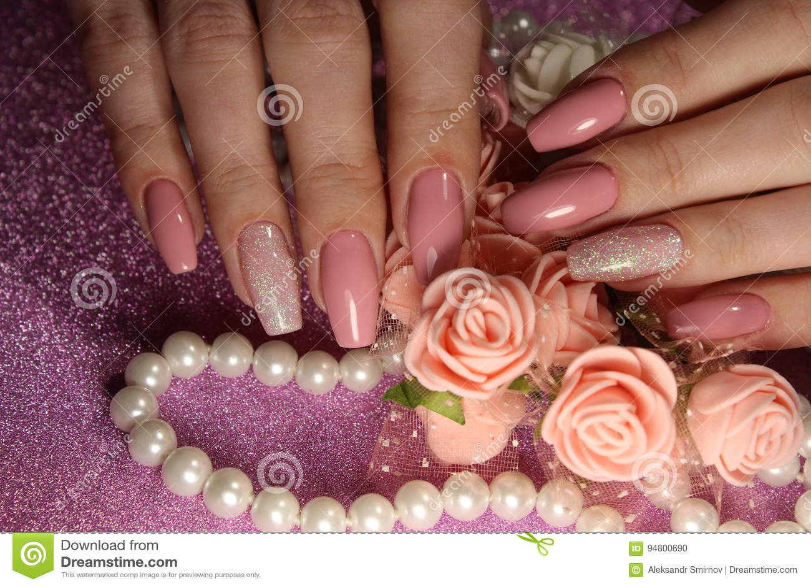 Elegant Manicure Design In Cream Color Stock Photo - Image of woman ...