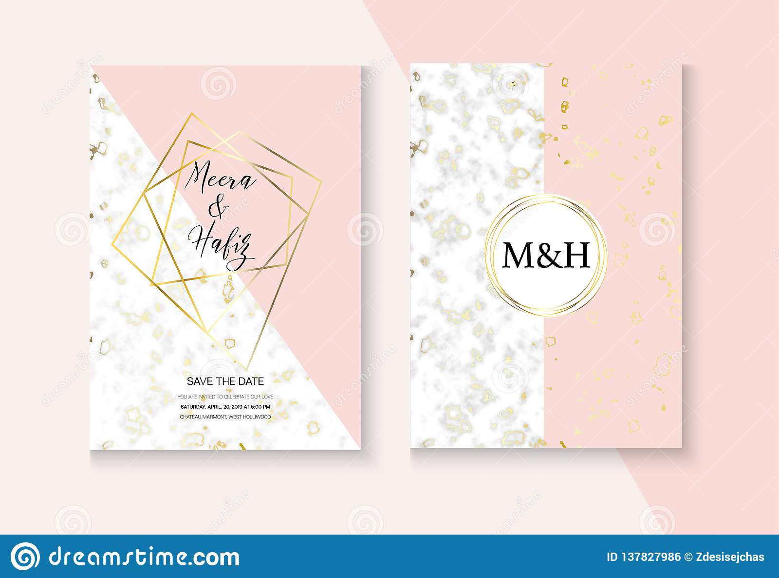 Elegant Marble Wedding Invitation Vector Set Pink Grey