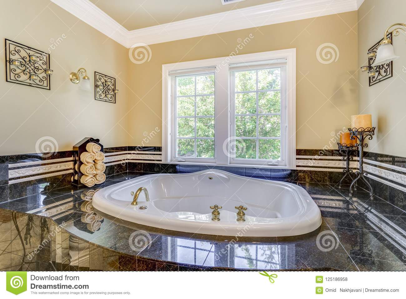 Elegant Master Bathroom With Luxury Bathtub Stock Photo - Image of ...