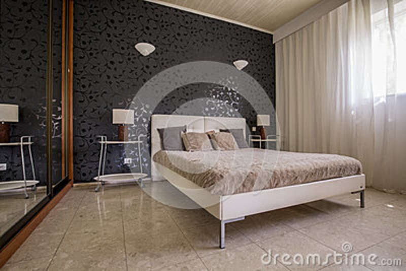 Elegant Master Bedroom With Mirror Stock Image - Image of ...