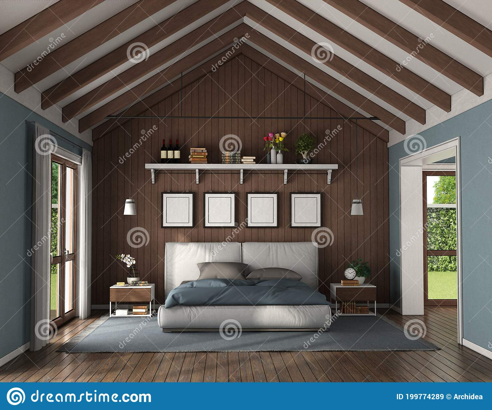 Elegant Master Bedroom With Wooden Wall Behind A Double Bed Stock Illustration Illustration Of Modern Roof 199774289