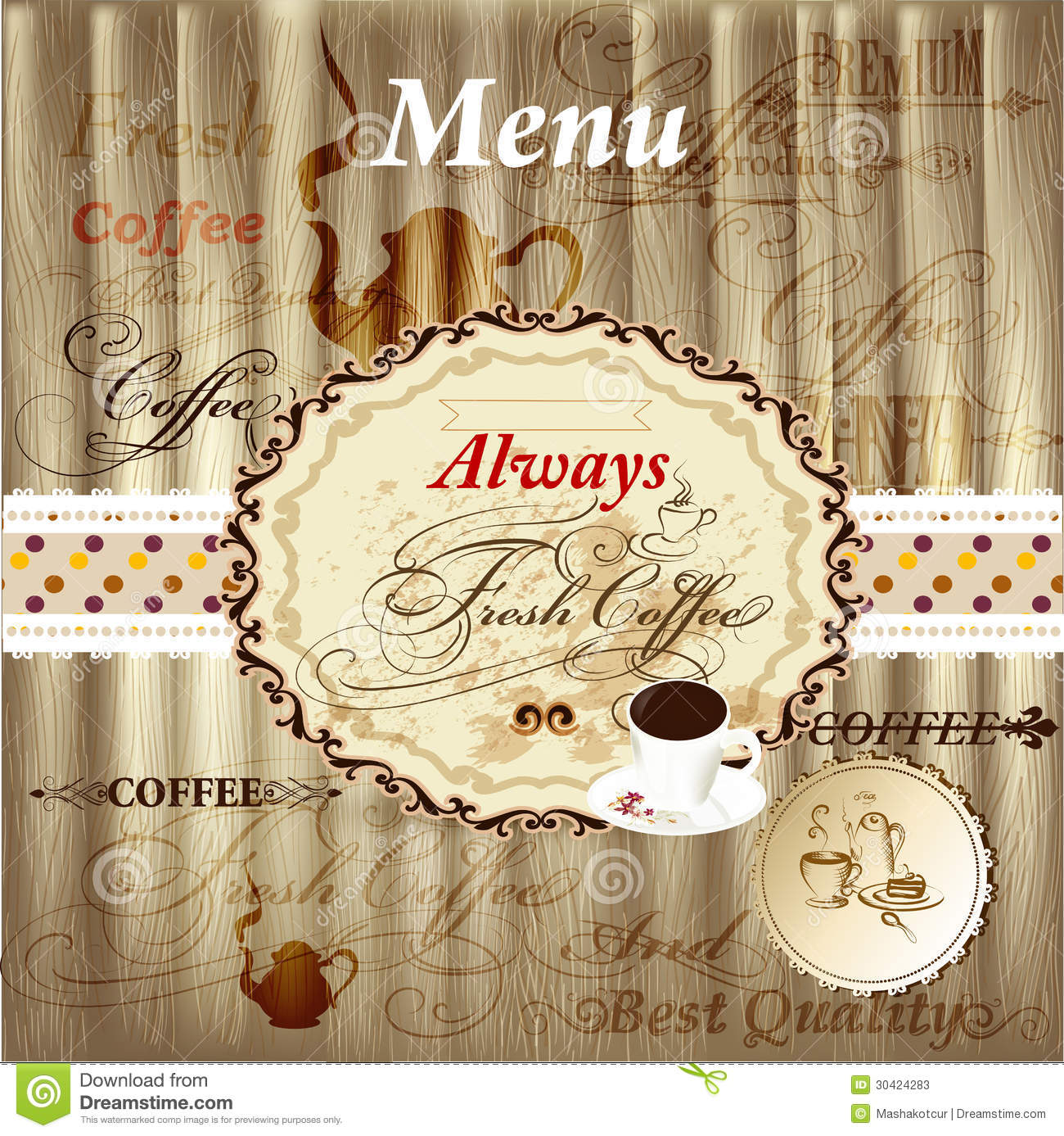 Elegant Menu Design With Coffee Elements On Wood Texture