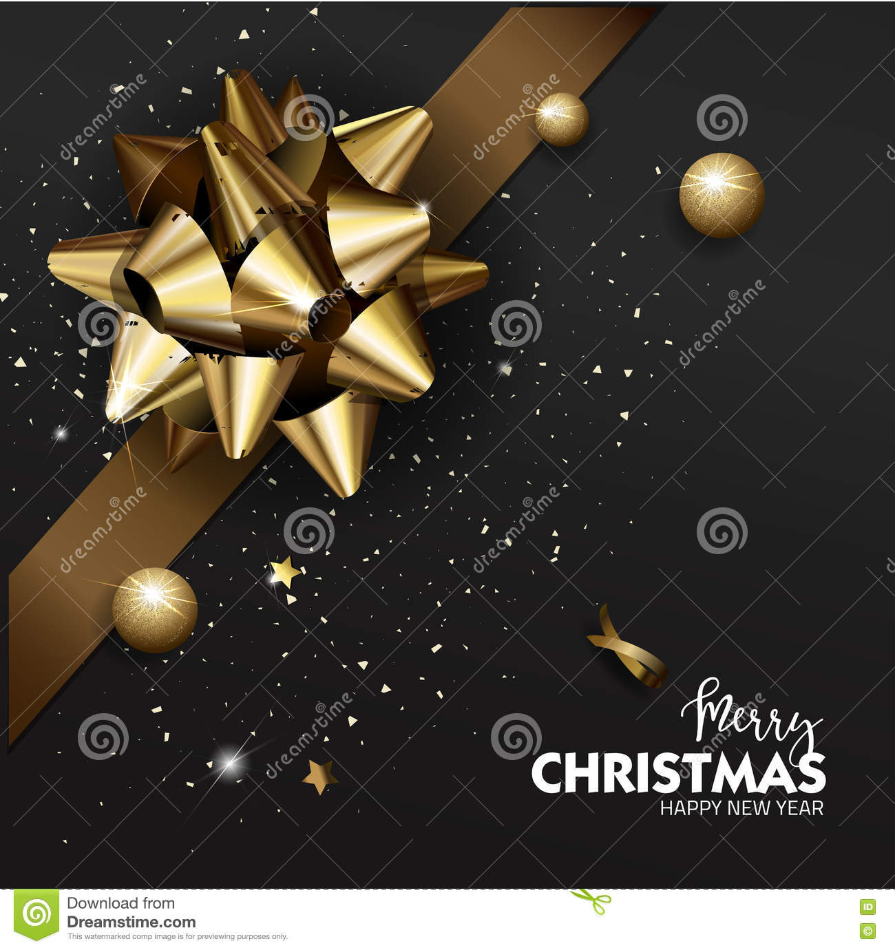 elegant merry christmas or happy new year background with gold bow