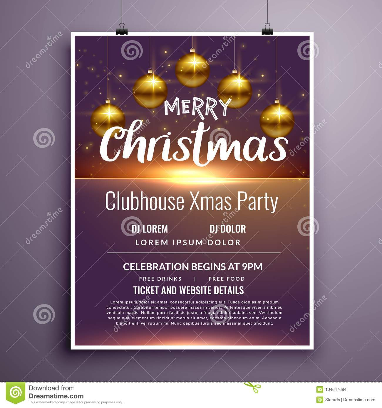 Download Elegant Merry Christmas Party Flyer Invitation Template Design  Stock Vector   Illustration Of Holiday,