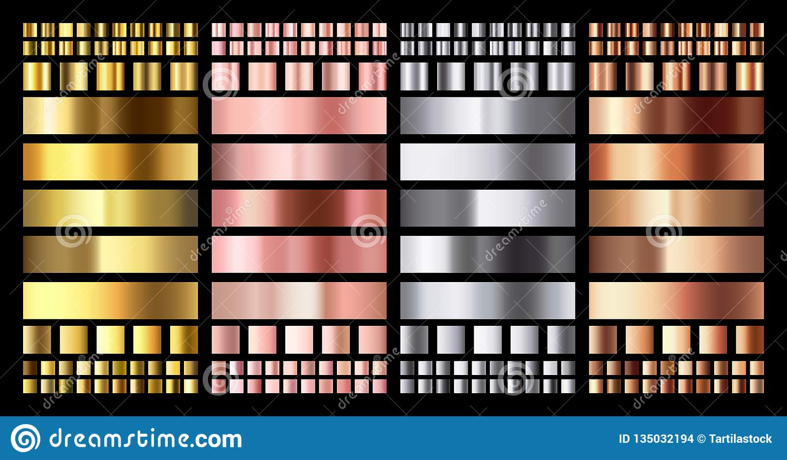 Elegant metallic gradient. Shiny rose gold, silver and bronze medals gradients. Golden, pink copper and chrome metal