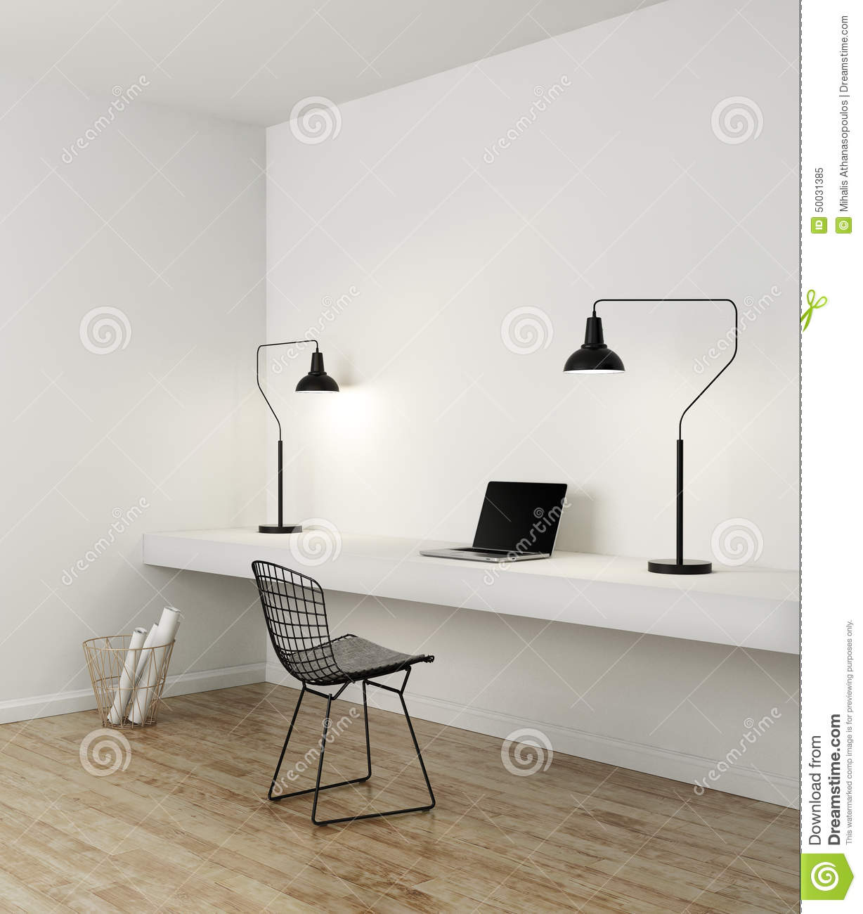 Elegant Minimal White Home Office Stock Image - Image of chillout ...