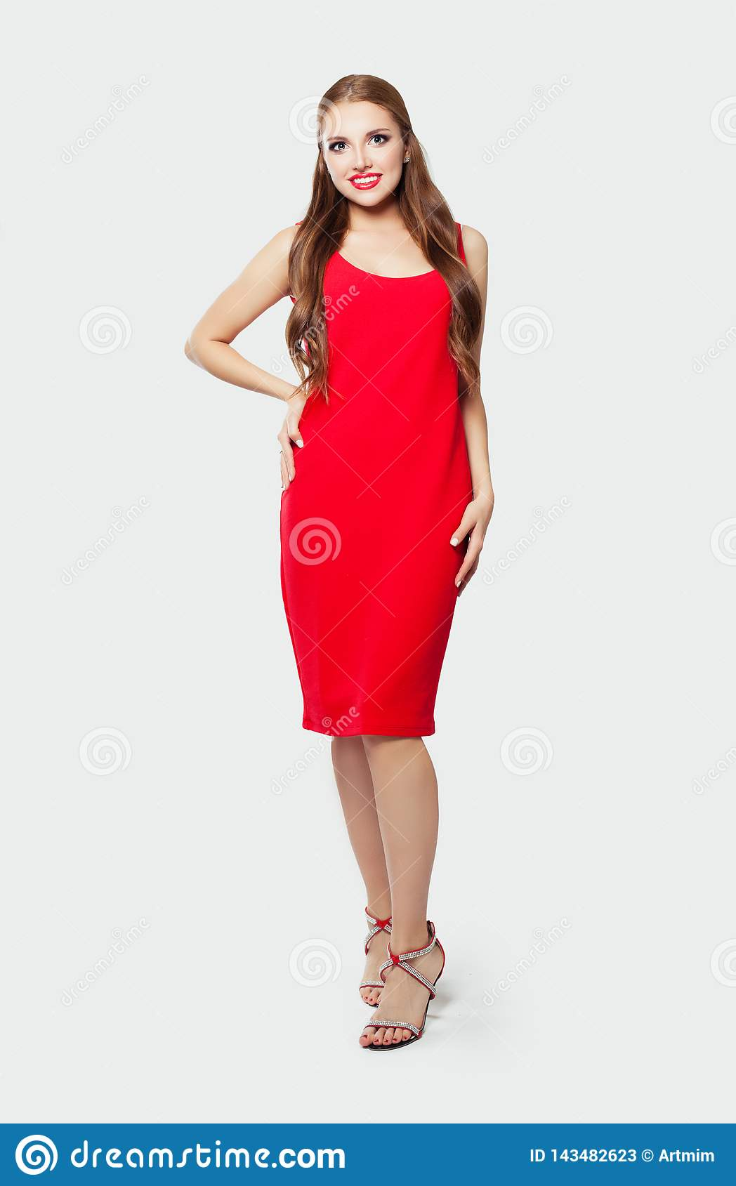 red dress white shoes Elegant Model Woman Wearing Red Dress And High Heels Shoes Standing Against  White Wall Background Stock Image - Image of happy, cute: 143482623