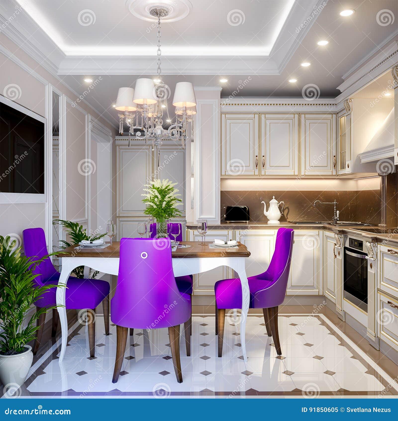 Kitchen Modern Classic: Elegant Modern Classic Kitchen Interior Design Stock