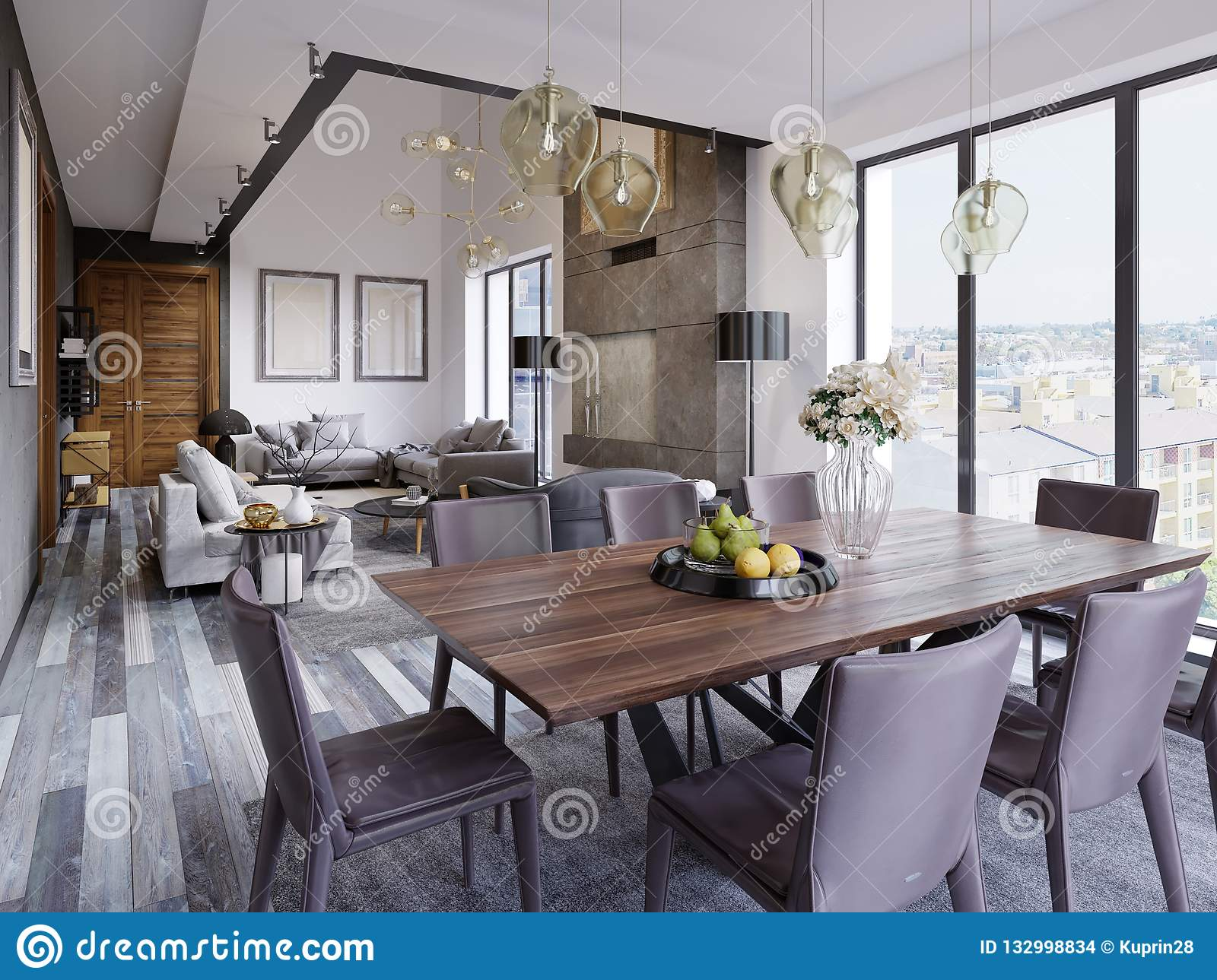 Elegant Modern Dining Room Interior In Luxury Home Kitchen And