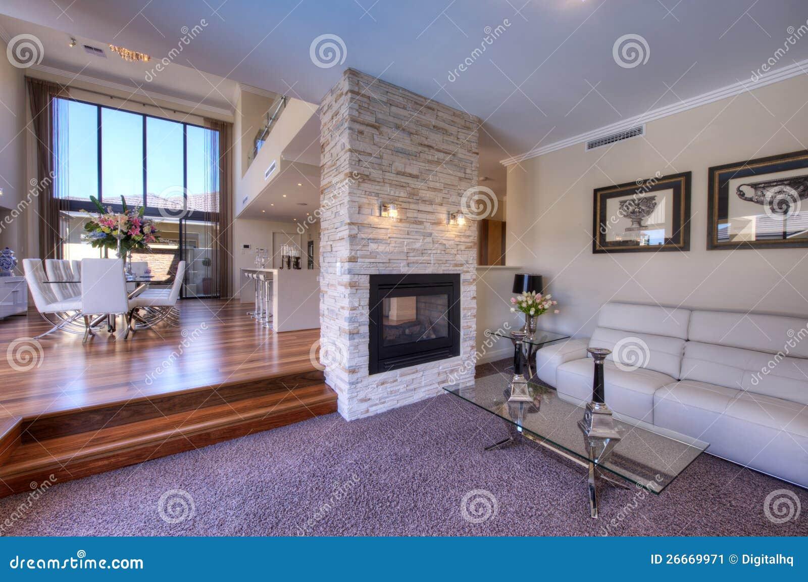 Elegant modern open plan living room stock image image - Salon et cuisine moderne ...