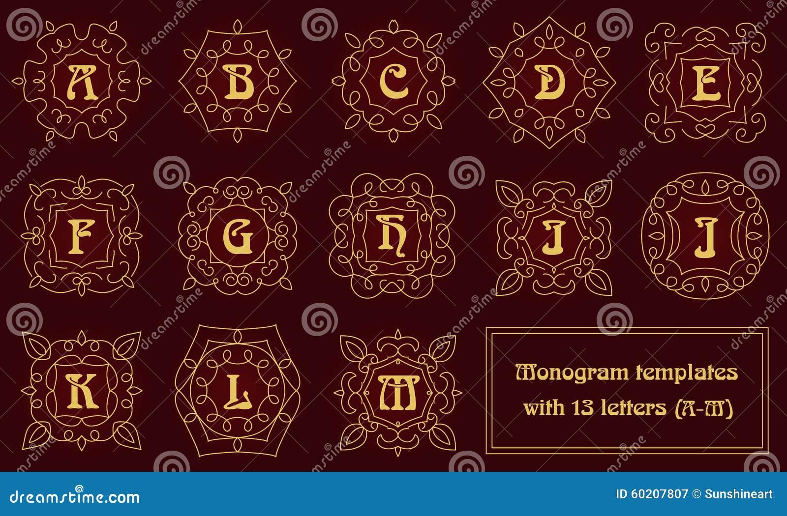Elegant Monogram Design Templates With Letters. Stock Vector ...