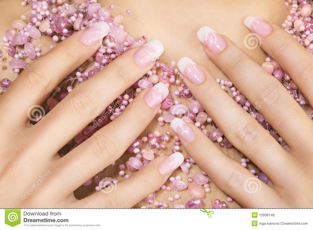 Elegant nail design stock photo. Image of french, female - 12936140