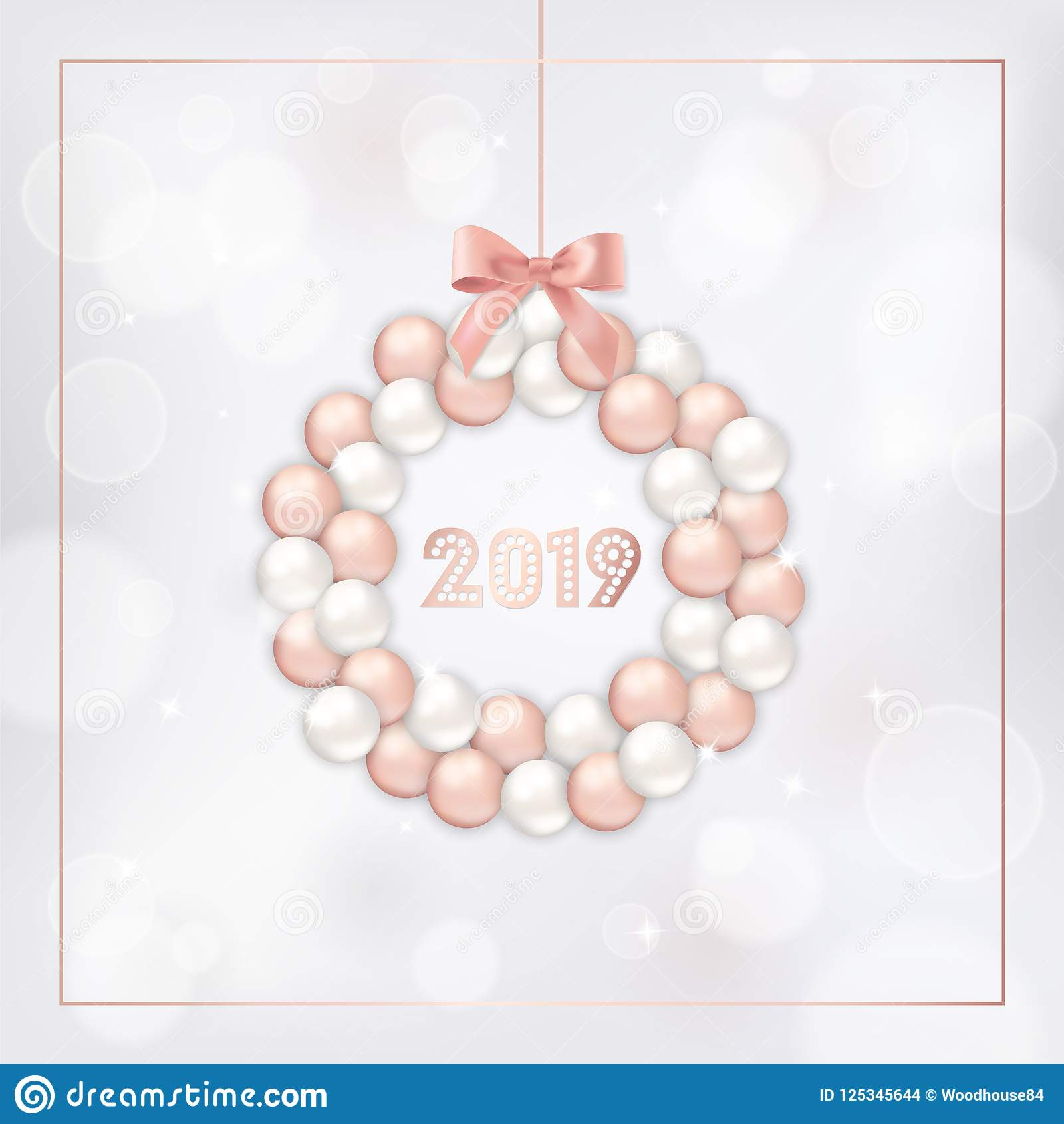 Elegant New Year 2019 Card With Rose Gold Christmas Balls Wreath For