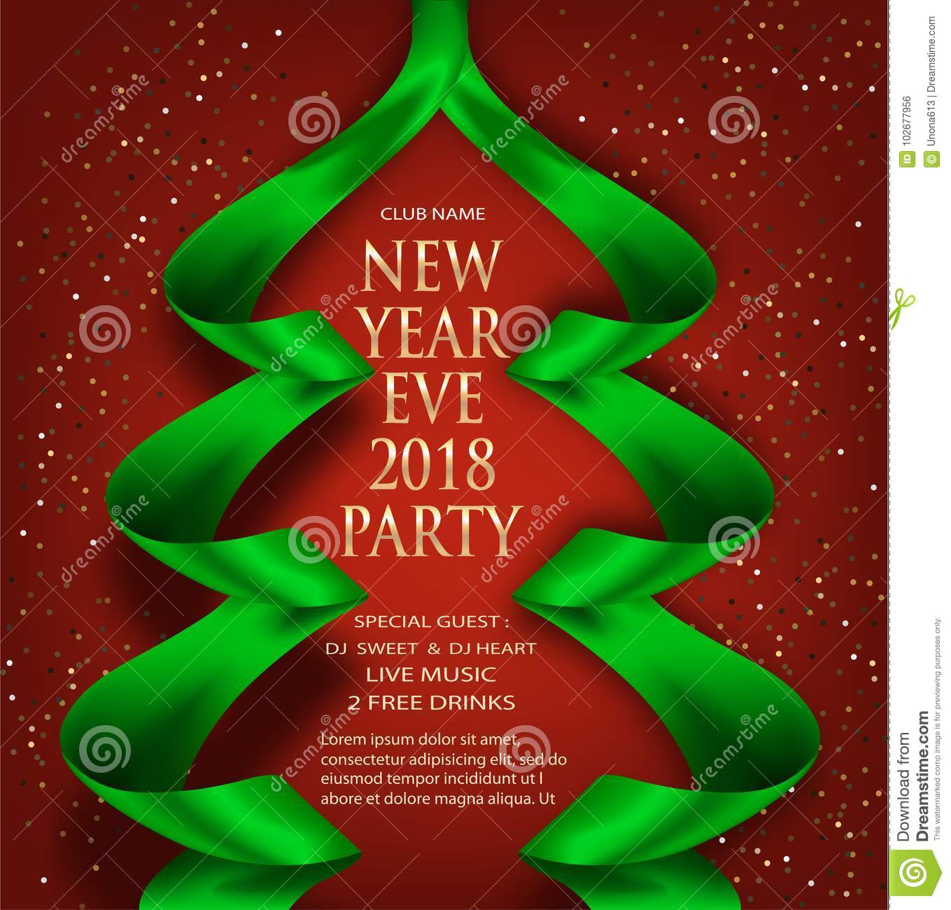 Elegant New Year Eve Invitation Card With Green Ribbons In