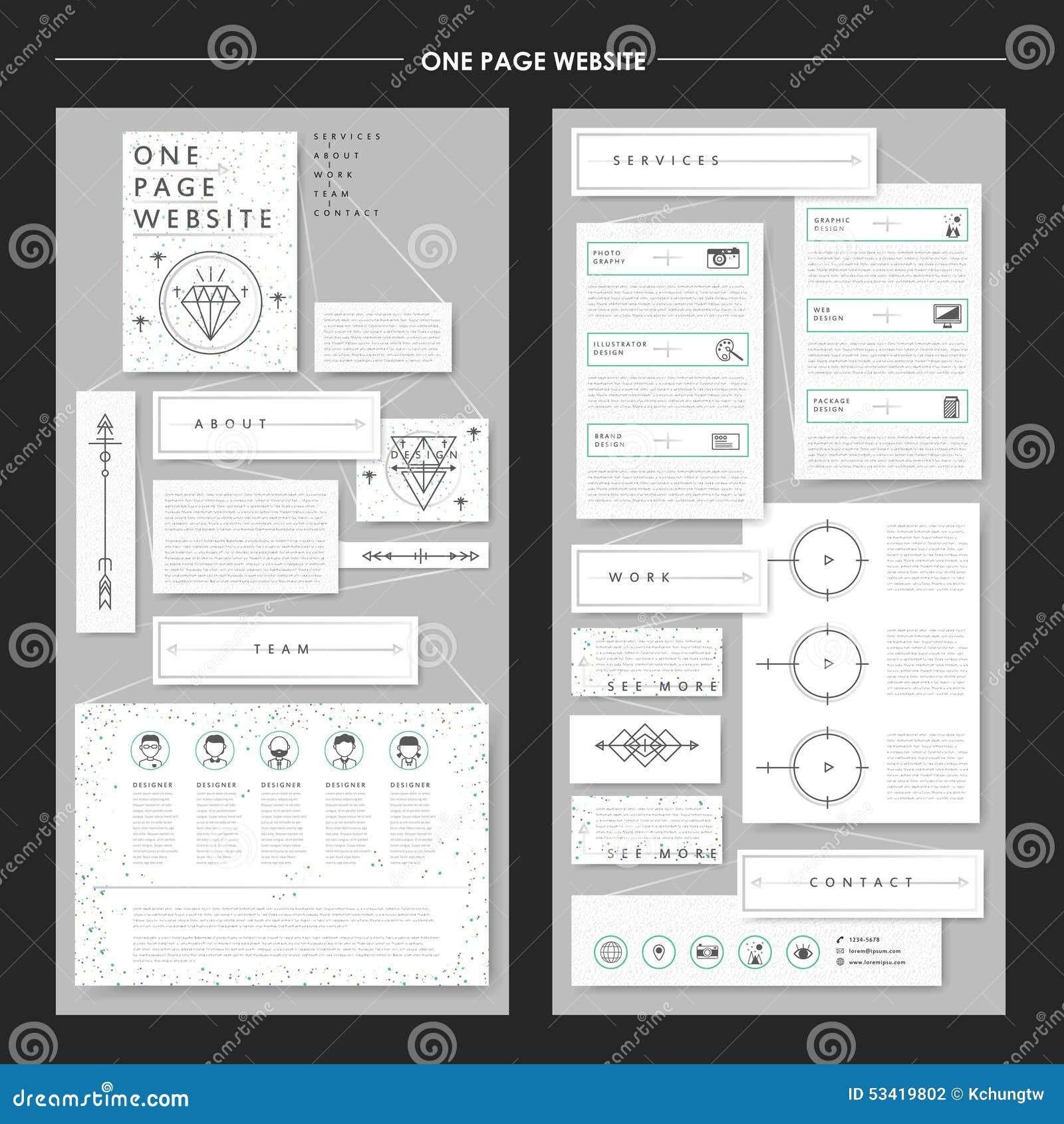 Elegant One Page Website Template Design Stock Illustration ...