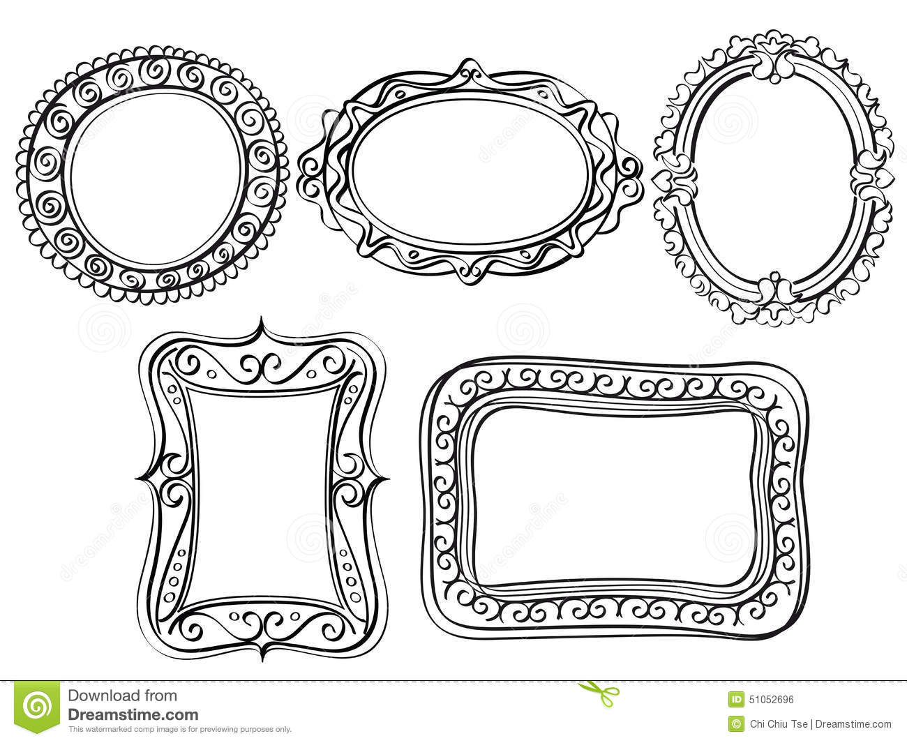Line Art Frames : Elegant ornate frames stock illustration image