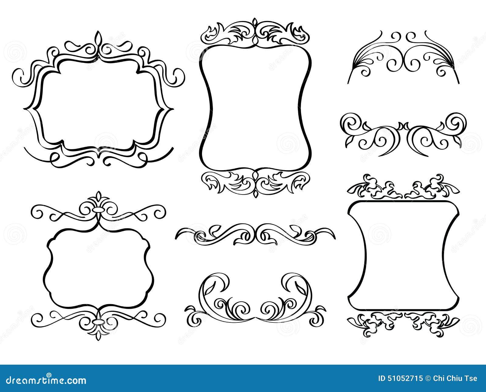 Line Art Frames : Elegant ornate frames stock illustration of