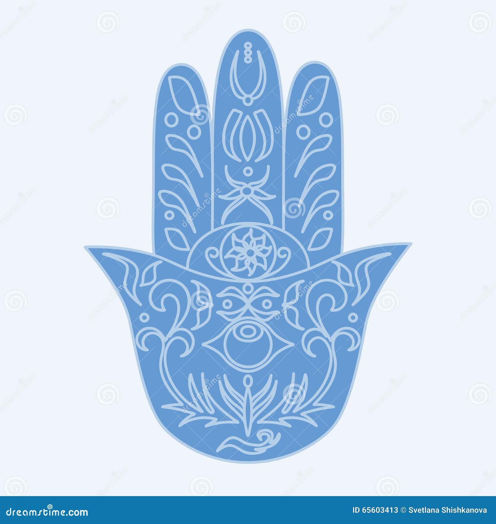 Elegant Ornate Hand Drawn Hamsa Hand Of Fatima Stock Vector