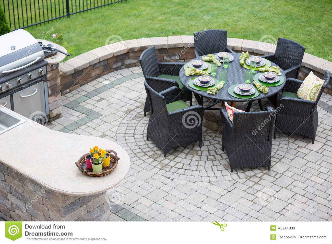 Elegant outdoor living space stock photo image of decor - Coleman small spaces bbq decoration ...