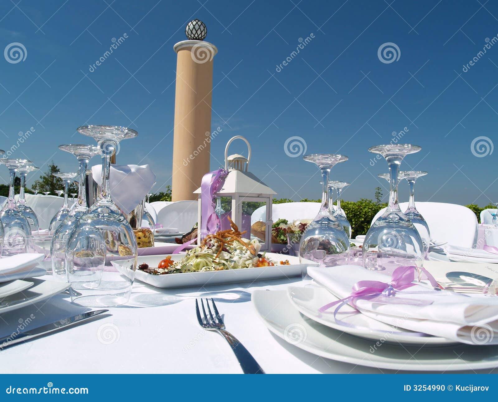 Elegant Outdoor Table Setting Stock Photo Image 3254990