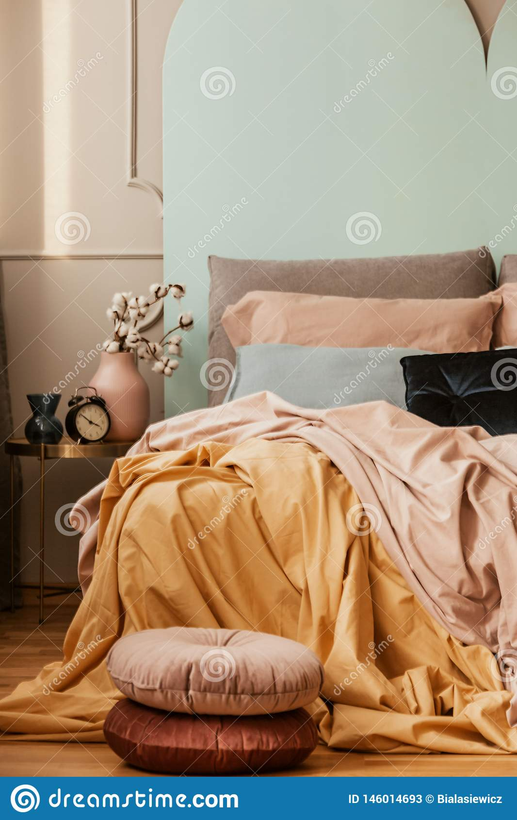 Elegant Pastel Pink Blue And Yellow Bedding On King Size Bed Fashionable Bedroom Interior Stock Image Image Of Chic King 146014693
