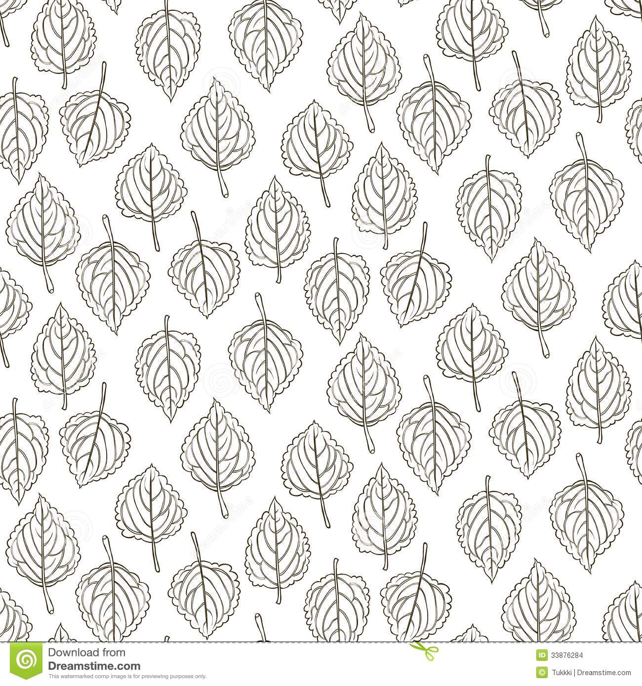 Elegant Pattern With Leafs Drawn In Thin Lines Stock