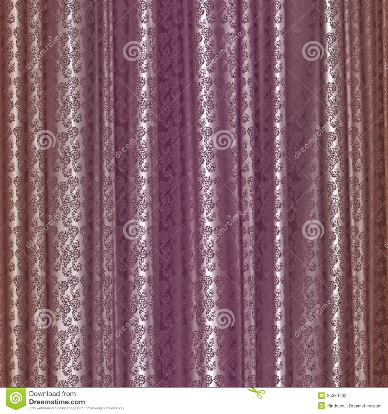 Elegant pink and brown damask pattern curtain with realistic fabric ...