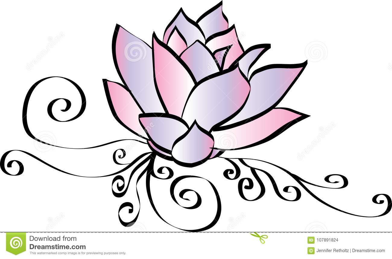 Elegant Pink Lotus Flower Drawing Stock Illustration Illustration
